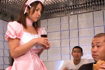 Kokoro Maki Asian waitress brings drink and has jugs touched