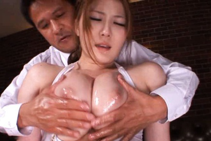 Momoka nishina. Momoka Nishina Asian has voluminous boobs fondled with oil and rubs clit
