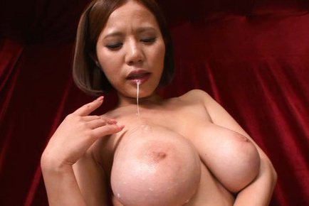 Ruri saijo. Ruri Saijo Asian pours cumshot on huge knockers after cock sucking boner