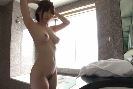 Michiru. Michiru Asian exposes leering anatomy with heavy cans in daily shower